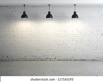 High resolution brick concrete room with ceiling lamp