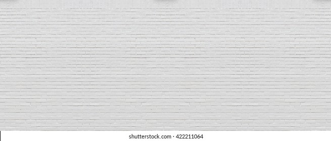 High resolution build panorama of  fresh painted white bricks wall background