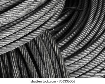 High resolution close up shot of metal cable sling for engineering, construction and building.