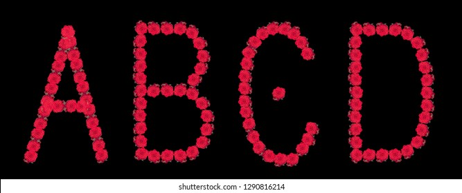 High resolution color floral/flower characters/letters A B C D constructed from rose blossom macros on black background