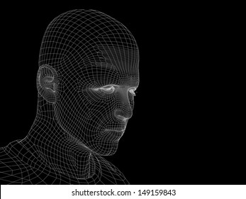 High resolution concept or conceptual 3D wireframe human male head isolated on black background as a metaphor for technology,cyborg,digital,virtual,avatar,model,science,fiction,future,mesh or abstract