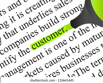 High resolution concept conceptual abstract black text isolated on white paper background with green marker as a metaphor for customer, target, marketing, client, service, strategy, business consumer