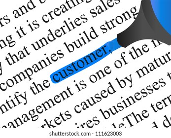 High resolution concept or conceptual abstract black text isolated on white paper background with blue marker as a metaphor for customer,target,marketing,client,service,strategy,business or consumer