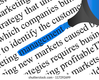 High resolution concept or conceptual abstract black text isolated on white paper background with a blue marker as a metaphor for management,business ,marketing,target,highlight,solution or branding