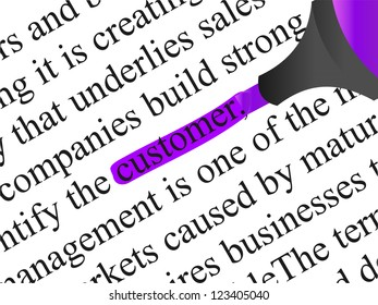 High resolution concept or conceptual abstract black text isolated on white paper background with violet marker as a metaphor for customer,target,marketing,client,service,strategy,business or consumer