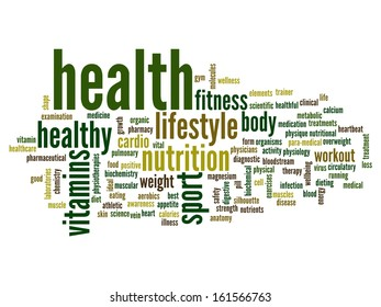 High resolution concept or conceptual abstract word cloud on white background as metaphor for health,nutrition,diet,wellness,body,energy,medical,fitness,medical,gym,medicine,sport,heart or science