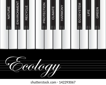 High resolution concept or conceptual white text piano keys word cloud or tagcloud isolated on black background as metaphor to nature,ecology,green,energy,natural,life,world,global,protect recycling