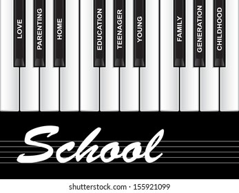 High resolution concept or conceptual white text word cloud or tagcloud as piano keys isolated on black background as a metaphor for child,family,education,life,home,love and school learn achievement