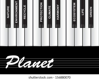High resolution concept or conceptual white planet text piano keys word cloud or tagcloud isolated on black background