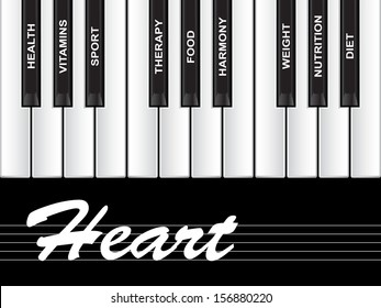 High resolution concept or conceptual white text word cloud tagcloud as piano keys isolated on white background as metaphor for health,nutrition,diet,wellness,body,energy,medical,sport,heart science