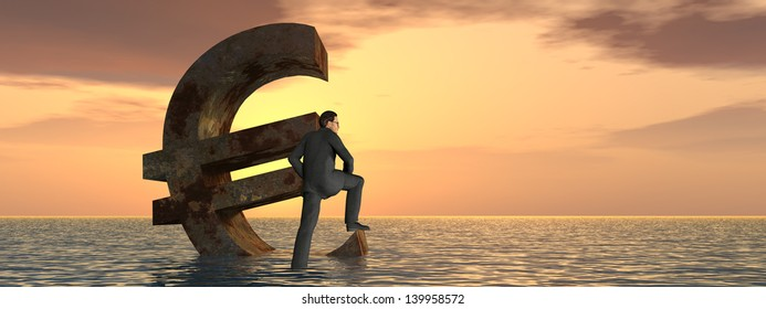 High resolution conceptual 3D currency euro symbol sinking in water,sea or ocean as a concept for European crisis, metaphor for financial,banking,businessman,economy,problem,danger,risk sunset banner