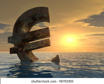 High resolution conceptual 3D currency euro sign or simbol sinking in water,sea or ocean as a concept for European crisis. It is a metaphor for financial,banking, economy,problem,danger at sunset