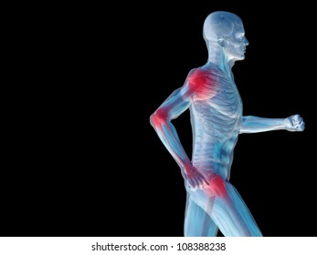 High resolution conceptual 3D human for anatomy,medicine and health designs, isolated on black background. A man made of a skeleton and a transparent blue body as in a x-ray with red painful hotspots