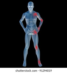 High resolution conceptual 3D human ideal for anatomy,medicine and health designs, isolated on black background. It is a man made of a skeleton and a transparent body as in a x-ray