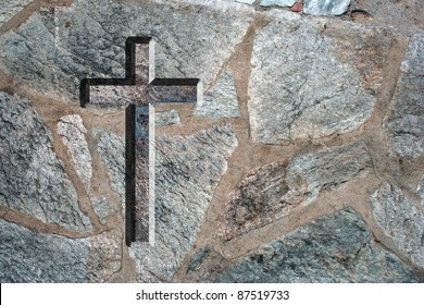 High resolution conceptual Christian cross over an old stone wall ideal for religious or faith designs