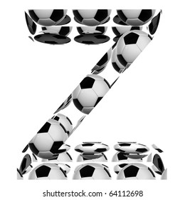 High resolution conceptual font made of soccer balls isolated on white