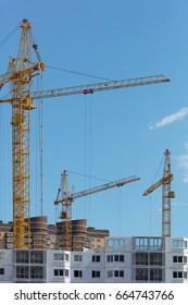 A high resolution. Construction crane, boom, cabin