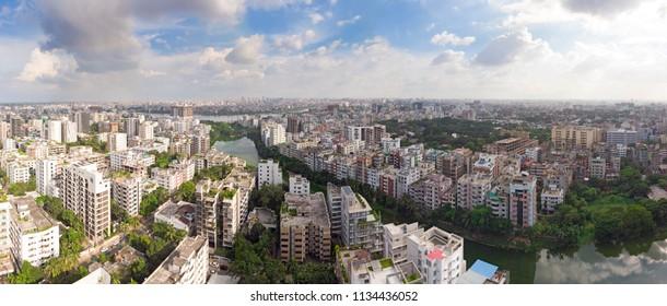 High resolution Dhaka skyline from a bird's eye view