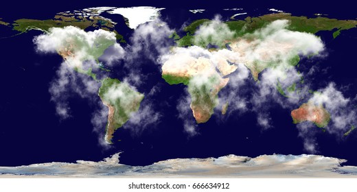 High resolution Earth continents clouds flat world map from space. Elements of this image furnished by NASA.
