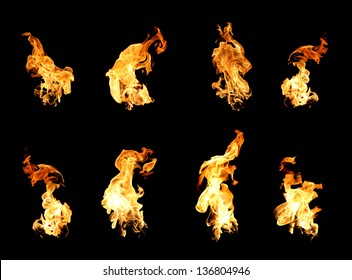 High resolution fire collection of isolated flames on black