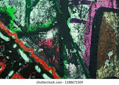 High resolution fragment of concrete wall with graffiti. Fluid smooth glowing dusky, sable and dark slate blue multicolor shapes.