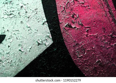 High resolution fragment of concrete wall with graffiti. Fluid smooth glowing coffee, maroon and rosy multicolor shapes.