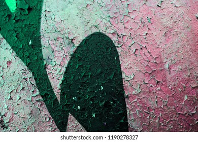 High resolution fragment of concrete wall with graffiti. Fluid smooth glowing neon, iris and emerald multicolor shapes.