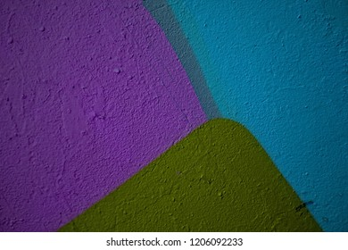 High resolution fragment of concrete wall with graffiti. Fluid smooth glowing apple, sea and iris multicolor shapes.