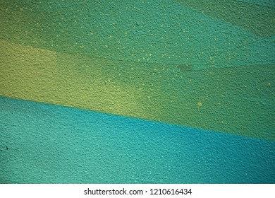 High resolution fragment of concrete wall with graffiti. Fluid smooth glowing sea green, apple and grey multicolor shapes.