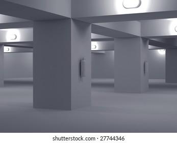 High resolution image automobile parking. 3d illustration. Underground parking.