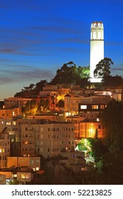 High Resolution Image of Coit Tower at Night in San Francisco