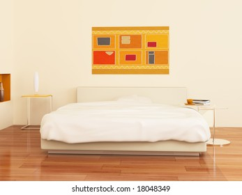 High resolution image interior. A bed in a bedroom. 3d illustration.