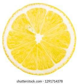 High resolution image of lemon slice with seed. Top view to fresh organic lemon slice isolated on white background with clipping path.