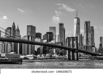 High resolution image of New York City skyline in black and white