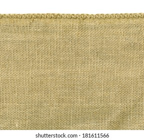 High resolution image of rough irregular weave burlap material with one finished woven edge. Great background for that rugged look.