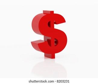 High resolution image symbol dollar. 3d illustration over white backgrounds.