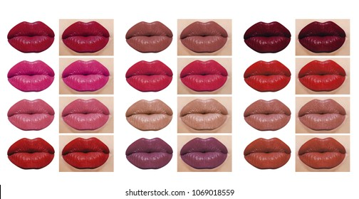 High resolution lipstick colors on woman lips, large collection of natural lips and isolated lips on white background, clipping paths included
