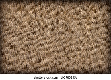 High Resolution Natural Brown Burlap Canvas Coarse Grain Vignette Grunge Background Texture