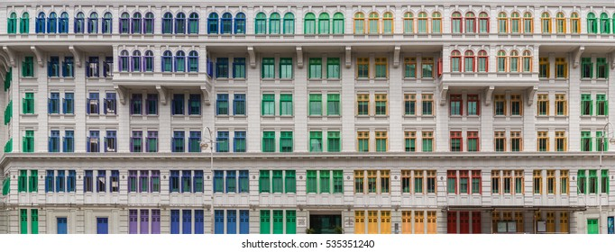 High Resolution of Old Hill Street Police Station historic building in Singapore. Neoclassical style building with colorful windows.