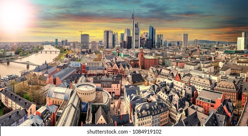 High resolution panorama of Frankfurt am Main, Skyline with financial district. Germany