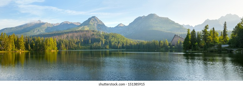 High resolution panorama of mountain lake in National Park High Tatra. Strbske pleso, Slovakia, Europe