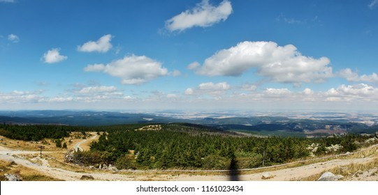 High resolution Panorama of a mountain view in german Harz from the Brocken