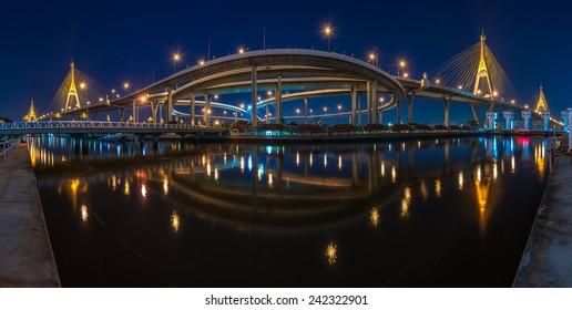 High resolution panorama scene of suspension bridge in Thailand (Bhumibol bridge)