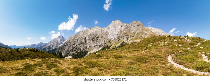 High resolution panorama shot of the Ohrenspitzen mountain range of the Riesenferner group on the Austrian Italian border shot on a beautiful summer day from the side of the Staller Sattel pass.