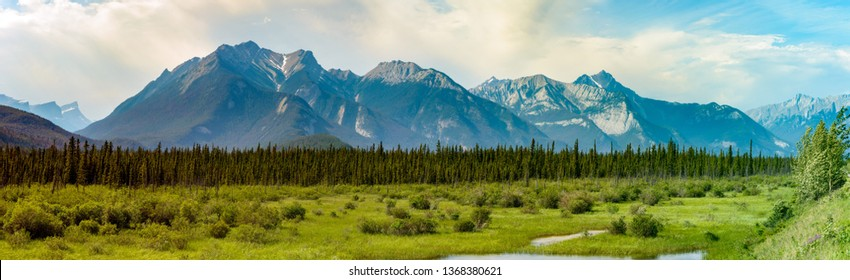 A high resolution panoramic of the Canadian Rockies in Jasper National Park of Alberta.
