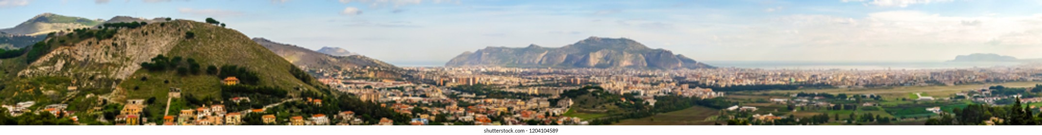 High resolution panoramic image of the city and gulf of Palermo, Sicily, from a viewpoint on the surrounding hilltop town Baida. The view includes Mondello, Monte Pellegrino and Boccadifalco airport.