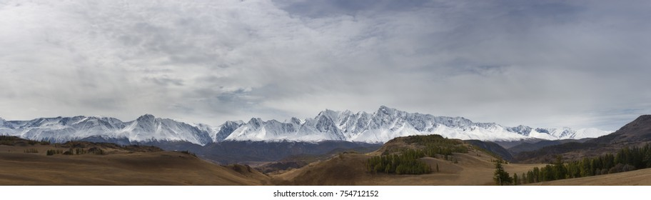 High resolution panoramic image of mountains, Altai Russia