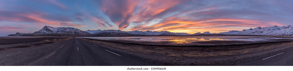 High Resolution of Panoramic Sunset on Ring Road, Iceland, Europe, HDR, 47 MPixels