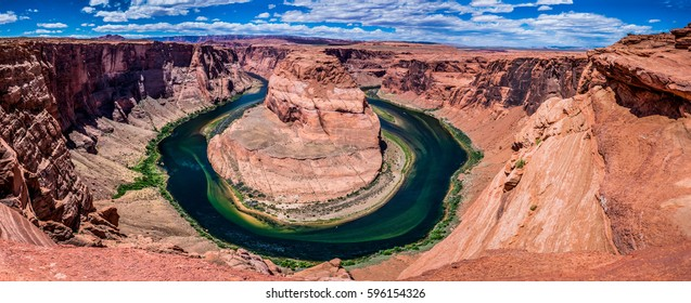 High Resolution Panoramic View of the Beautiful Rock Formation of Horseshoe Bend on the Colorado River, Arizona.