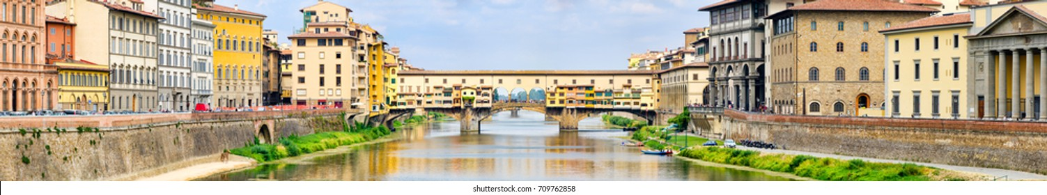 High resolution panoramic view of the city of Florence and the Ponte Vecchio over the river Arno